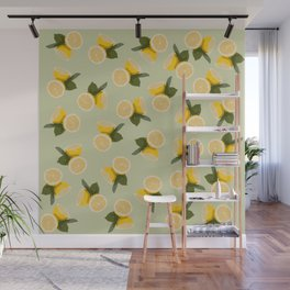 Yellow Citrus Lemon Fruit on Pale Lime Green Wall Mural