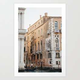 Rustic Orange Building through the Venice Canals   Gondola ride to remember, Italy travel photograph Art Print