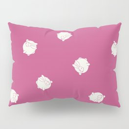 Round Bunny Pattern White Pink Pillow Sham