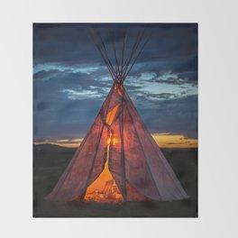 Southwestern Teepee Sunset Throw Blanket