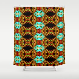 Neon Blue and Gold Spike Fractal Shower Curtain