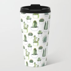 watercolour cacti and succulent Metal Travel Mug