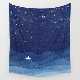 blue ocean waves, sailboat ocean stars Wall Tapestry