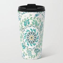 Leaf and Feather Calming Turquoise Mandala Travel Mug