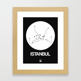 Istanbul White Subway Map Framed Art Print