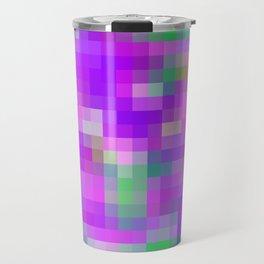purple and green pixel abstract Travel Mug