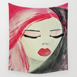 Shy Girl. Abstract Pink Girl. Pink Lips. Pink Hair. Jodilynpaintings. Eyelashes. Gift for All Girls. Wall Tapestry