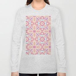 Pink teal yellow ethnic moroccan motif pattern Long Sleeve T-shirt