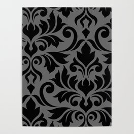 Flourish Damask Art I Black on Gray Poster