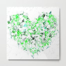 green heart shape abstract with white abstract background Metal Print