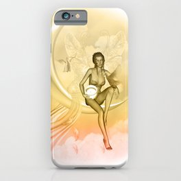 Wonderful fairy on a moon with dove iPhone Case