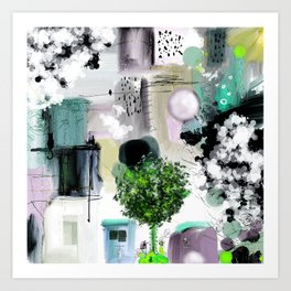 Peinture digitale maison arbres chat oiseau bulles Art Print
