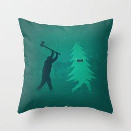 Funny Christmas Tree Hunted by lumberjack (Funny Humor) Throw Pillow