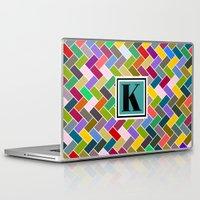 monogram Laptop & iPad Skins featuring K Monogram by mailboxdisco