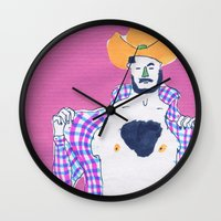 cowboy Wall Clocks featuring cowboy by Maybe Mary