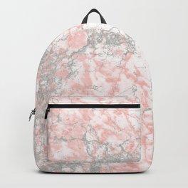Modern blush pink gray stylish marble Backpack