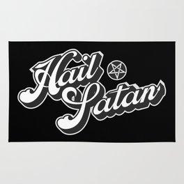 Hail Satan - Grayscale pop vintage letters Rug