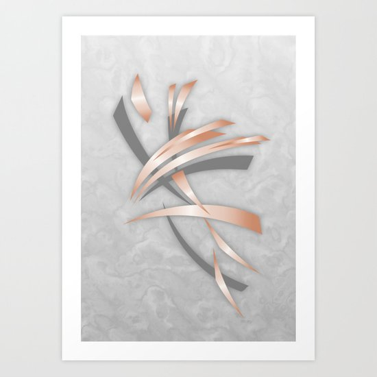 Rose Gold Gray Marble Abstract Art Print