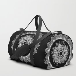 Bohemian Lace Paisley Mandala White on Black Duffle Bag