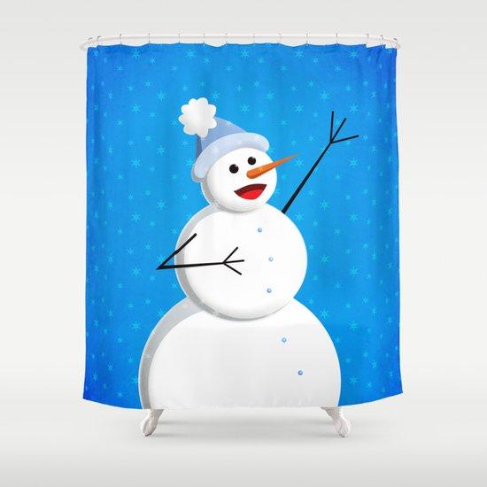 Blue Happy Singing Snowman Shower Curtain