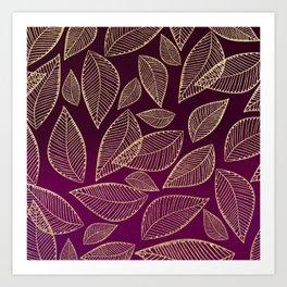 Chic burgundy watercolor gradient gold glitter foliage Art Print