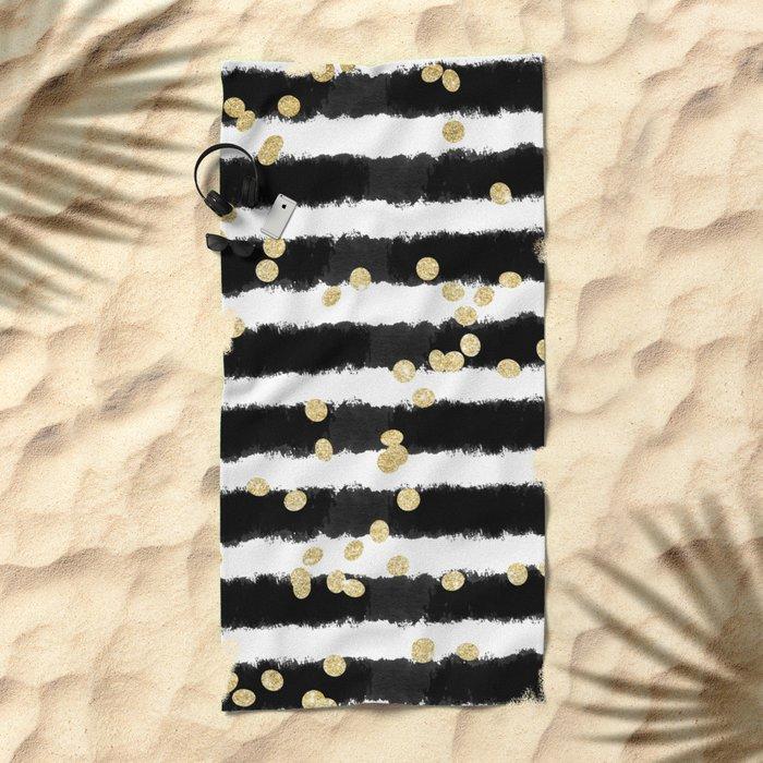 Modern black watercolor stripes chic gold confetti Beach Towel