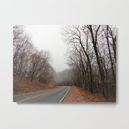 Foggy Fall Road Metal Print