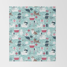 Veterinary medicine, happy and healthy friends // aqua background Throw Blanket