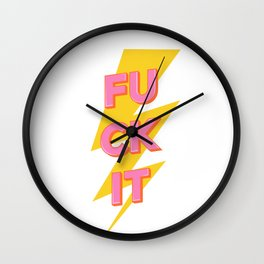 'fuck it' vintage retro lightning bolt poster Wall Clock