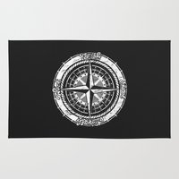 compass Area & Throw Rugs featuring Compass Rose by One Curious Chip