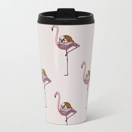 Flamingo and English Bulldog Travel Mug