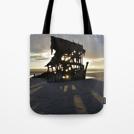 Wreck of the Peter Iredale at sunset Tote Bag