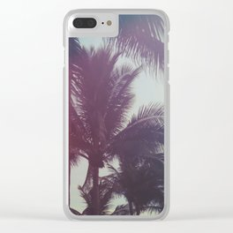 Dreamy Palm Trees Clear iPhone Case