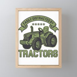 Easily Distracted By Tractors Farm Farmer Farming Agriculture Gift Framed Mini Art Print