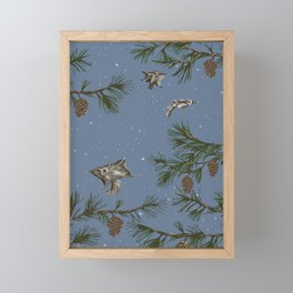 FLYING SQUIRRELS IN THE PINES (twilight) Framed Mini Art Print