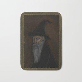Dark Wizard portrait framed, white background Bath Mat