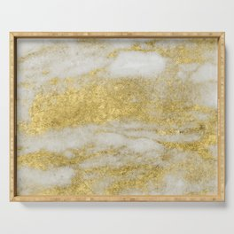 Marble - Glittery Gold Marble and White Pattern Serving Tray