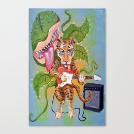 Guitar Playing Tiger with Audrey Canvas Print