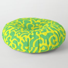 Social Networking Green and Yellow Floor Pillow