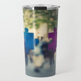 connecting puzzle pieces Travel Mug