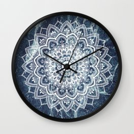 Pleasure White On Blue Marble Wall Clock