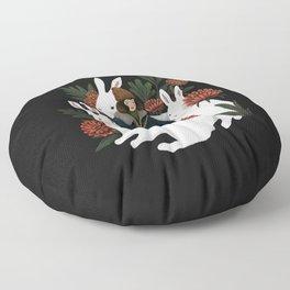 The rabbit garden Floor Pillow