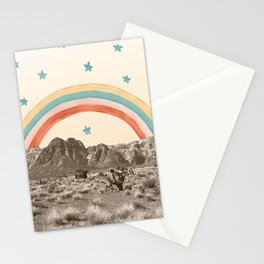 Canyon Desert Rainbow // Sierra Nevada Cactus Mountain Range Whimsical Painted Happy Stars Stationery Cards