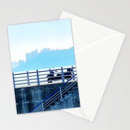 Faded blue landscape Stationery Cards