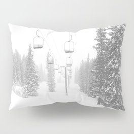 Empty Chairlift // Alone on the Mountain at Copper Whiteout Conditions Foggy Snowfall Pillow Sham