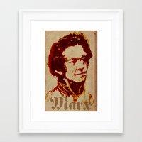 marx Framed Art Prints featuring Karl Marx by @DrunkSatanRobot