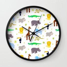 Wild african animals pattern Wall Clock