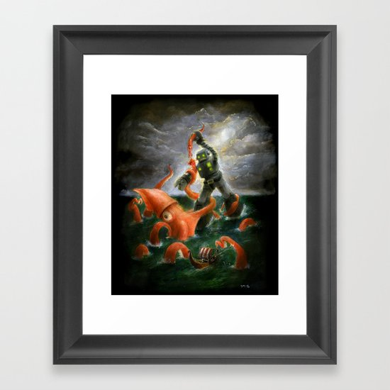 Sea Battle Masterpiece Robot vs Squid  Framed Art Print