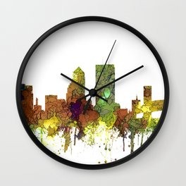 Jacksonville, Florida Skyline SG - Safari Buff Wall Clock