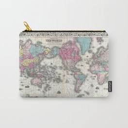 1852 J.H. Colton Map of the World Carry-All Pouch